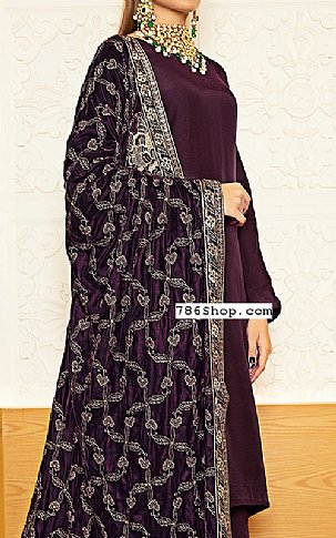 Plum Raw Silk Suit | Pakistani Winter Clothes