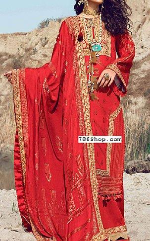 Scarlet Jacquard Suit   Pakistani Winter Clothes