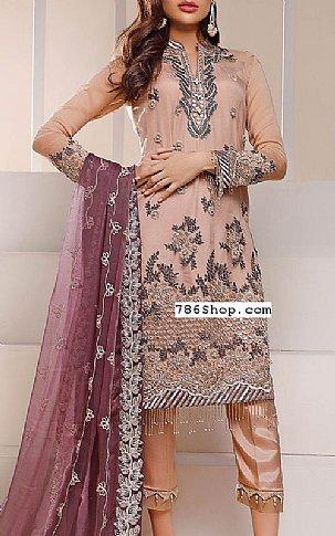 Peach Chiffon Suit   Pakistani Chiffon Dresses in USA