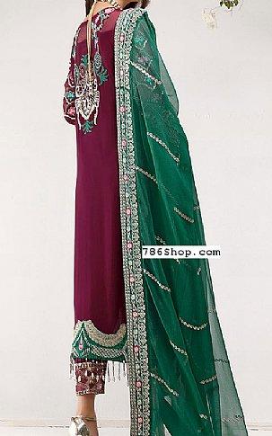 Maroon/Green Chiffon Suit | Pakistani Chiffon Dresses in USA