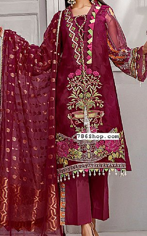 Maroon Jacquard Lawn Suit | Pakistani Lawn Suits in USA