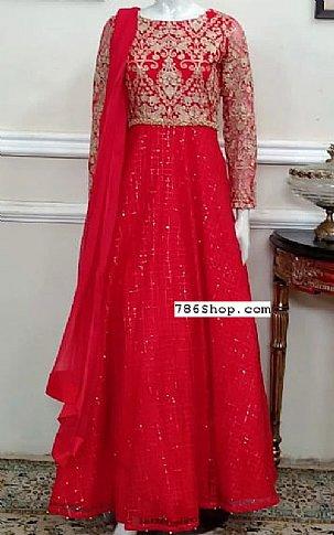 Red Chiffon Suit | Pakistani Chiffon Dresses