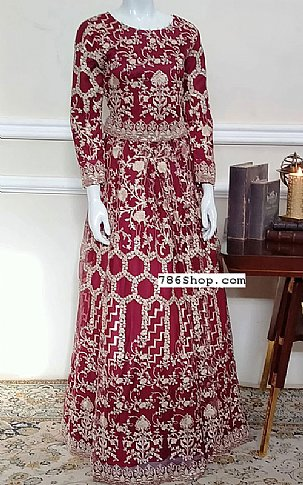 Maroon Net Suit | Pakistani Chiffon Dresses in USA