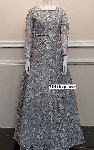 Grey Net Suit | Pakistani Chiffon Dresses in USA