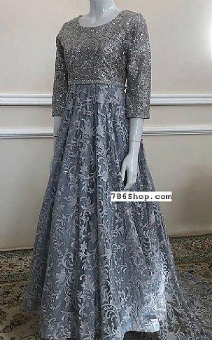 Grey Net Suit   Pakistani Chiffon Dresses