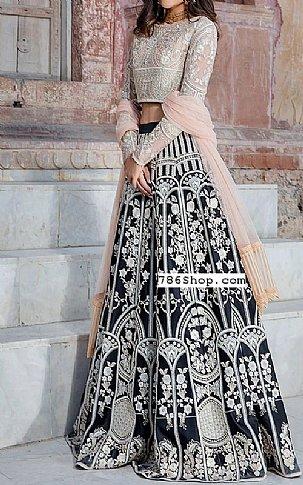 Peach/Black Net Suit | Pakistani Chiffon Dresses in USA