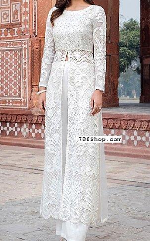 White Net Suit | Pakistani Chiffon Dresses in USA