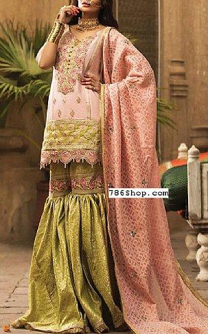 Peach/Green Masuri Cotton Net Suit | Pakistani Chiffon Dresses in USA
