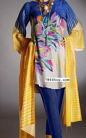 Blue/Yellow Silk Jacquard Suit | Pakistani Winter Clothes