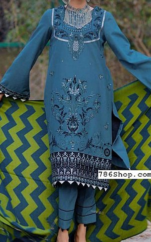 Turquoise Linen Suit | Pakistani Winter Clothes