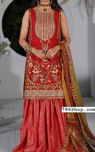 Red Chiffon Suit | Pakistani Chiffon Dresses in USA