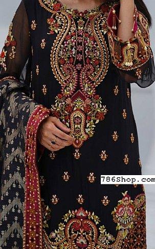 Navy Chiffon Suit   Pakistani Chiffon Dresses