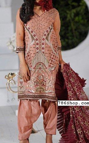 Peach Organza Suit | Pakistani Chiffon Dresses