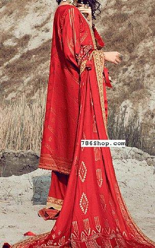 Red Jacquard Suit | Pakistani Chiffon Dresses