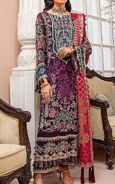 Egg Plant Chiffon Suit | Pakistani Chiffon Dresses