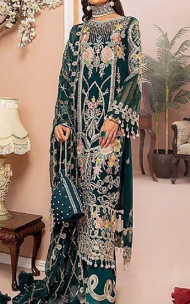 Teal Chiffon Suit | Pakistani Chiffon Dresses