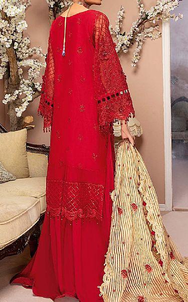 Red Organza Suit   Pakistani Chiffon Dresses