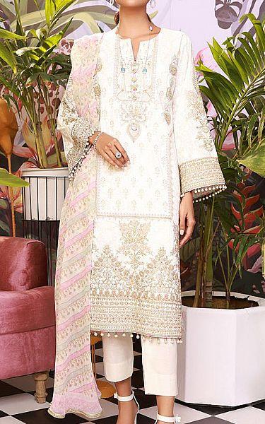 White Cotton Satin Suit | Pakistani Chiffon Dresses