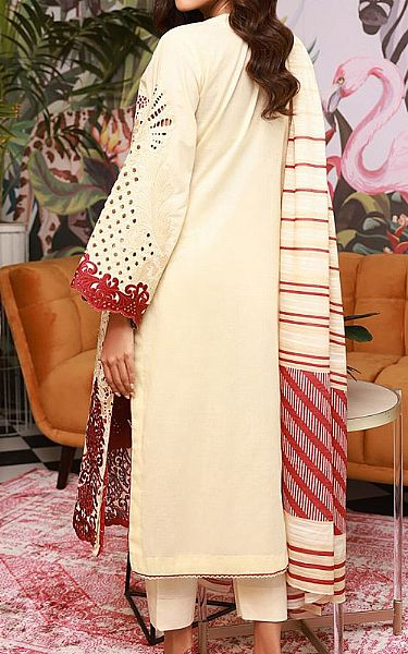 Off-white Cotton Satin Suit | Pakistani Chiffon Dresses