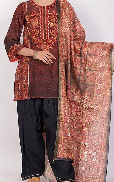 Maroon/Black Lawn Suit   Pakistani Lawn Suits