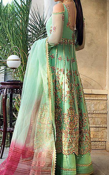Mint Green Chiffon Suit   Pakistani Chiffon Dresses