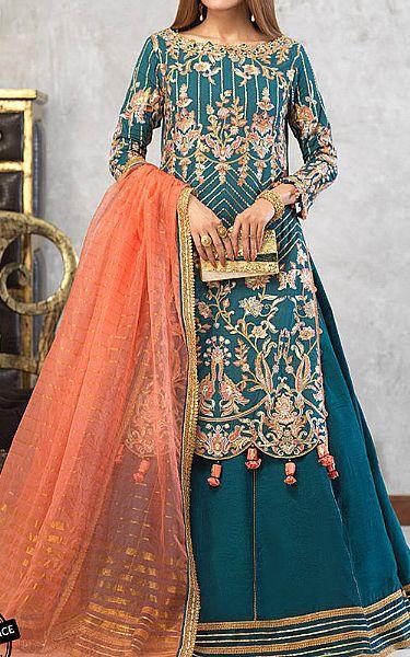 Teal Blue Cotton Net Suit   Pakistani Chiffon Dresses