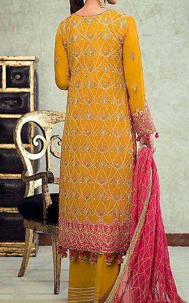 Mustard Silk Suit   Pakistani Chiffon Dresses