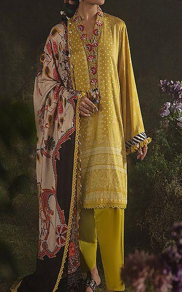 Lime Green Cotton Satin Suit   Pakistani Winter Clothes