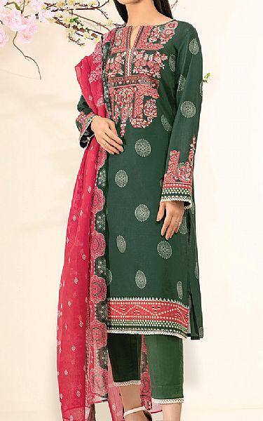 Hunter Green Lawn Suit   Pakistani Lawn Suits