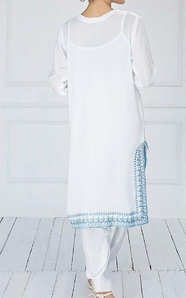 White Grip Suit (2 Pcs)   Pakistani Chiffon Dresses
