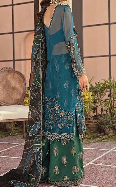 Blue/Green Chiffon Suit   Pakistani Chiffon Dresses