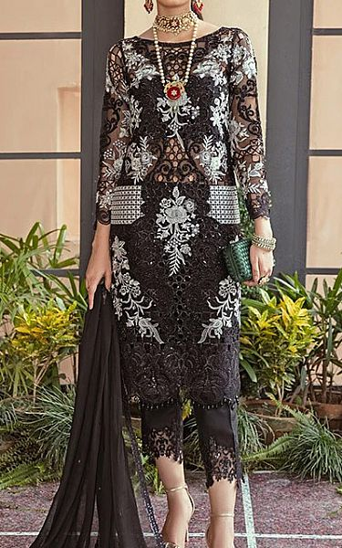 Black Organza Suit | Pakistani Chiffon Dresses