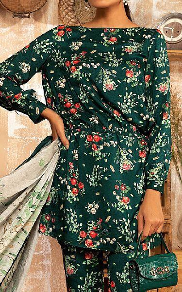 Brunswick Green Linen Suit   Pakistani Winter Clothes