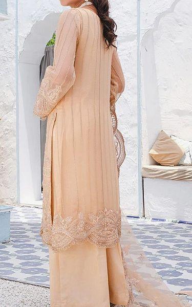 Beige Crinkle Chiffon Suit | Pakistani Chiffon Dresses