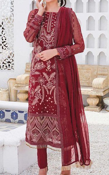 Maroon Crinkle Chiffon Suit   Pakistani Chiffon Dresses