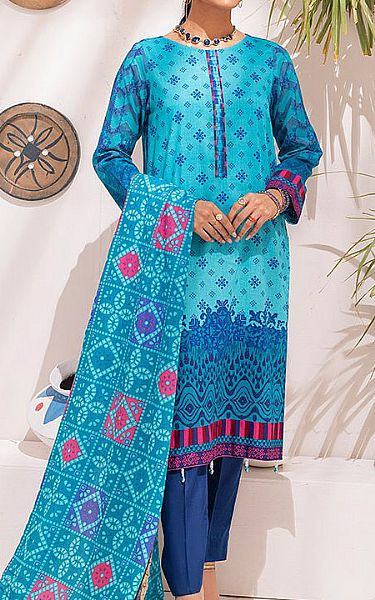 Turquoise Cambric Suit   Pakistani Winter Clothes
