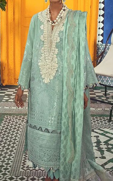 Light Turquoise Jacquard Suit | Pakistani Chiffon Dresses