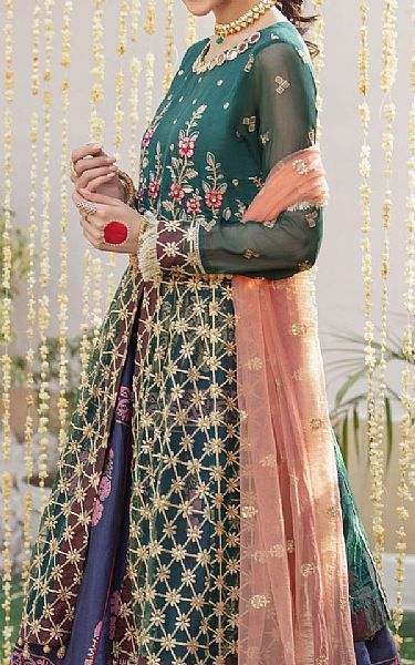 Teal Net Suit   Pakistani Chiffon Dresses