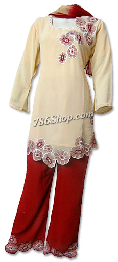 Cream/maroon Georgette Trouser Suit   Pakistani Dresses in USA