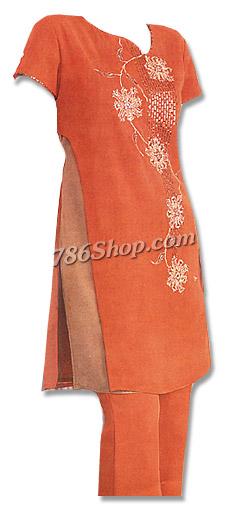 Rust Orange Chiffon Trouser Suit | Pakistani Dresses in USA