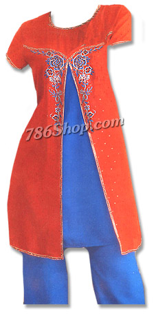 Red/Blue Chiffon Trouser Suit   Pakistani Dresses in USA