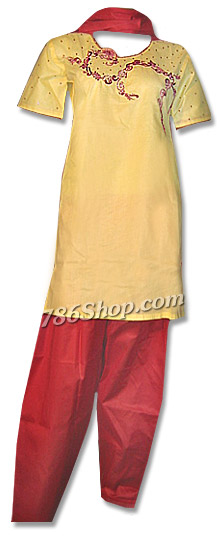 Yellow/Red Cotton Suit | Pakistani Dresses in USA