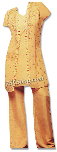 Mustard Chiffon Trouser Suit | Pakistani Dresses in USA