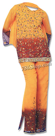 Mustard Georgette Trouser Suit  | Pakistani Dresses in USA