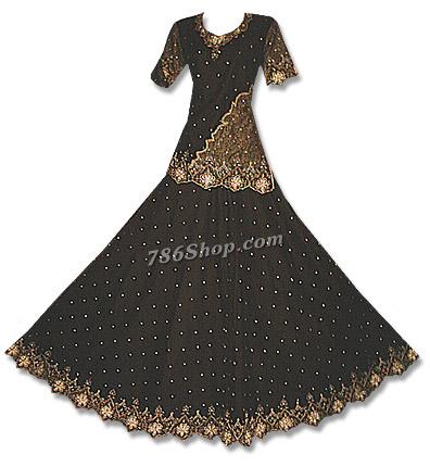 Black Net Organza Lehnga  | Pakistani Wedding Dresses