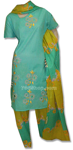 Sea Green/yellow Cotton Suit | Pakistani Dresses in USA