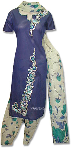 Dark Blue/Cream Cotton Suit | Pakistani Dresses in USA