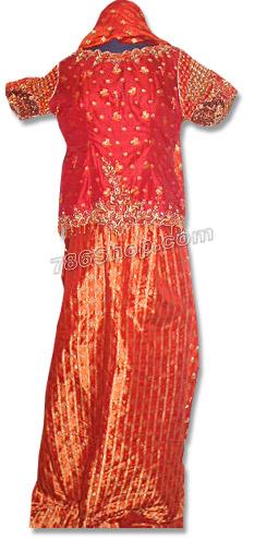 Red Pure Jamawer Lehnga  | Pakistani Wedding Dresses