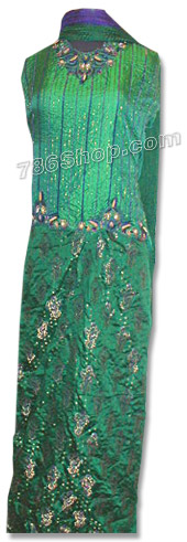 Green Pure Katan Silk Lehnga   Pakistani Wedding Dresses