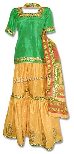 Yellow/Green Mehndi Gharara | Pakistani Wedding Dresses in USA